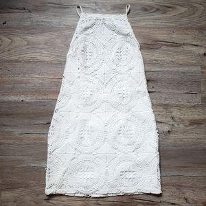 White Crochet Low Back Dress
